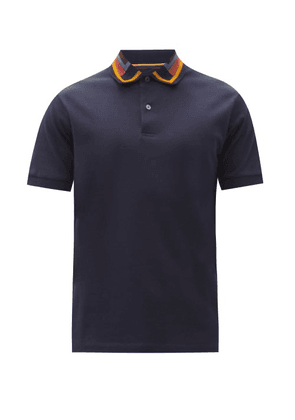 Paul Smith - Contrast-collar Cotton-piqué Polo Shirt - Mens - Navy