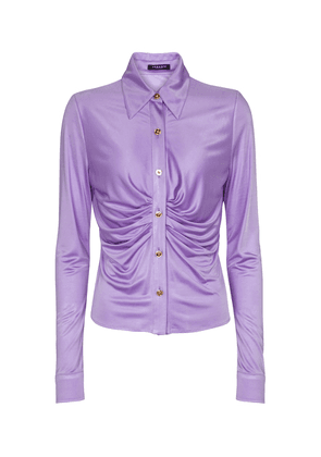 Ruched stretch-jersey shirt