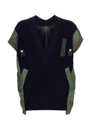 Paneled cotton-blend sweater vest