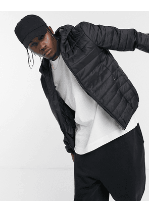 Soul Star lightweight hooded puffer with carry pouch in black