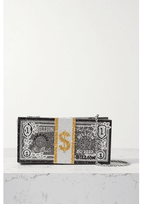 Judith Leiber Couture - Stack Of Cash Billions Crystal-embellished Silver-tone Clutch - Black