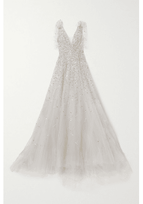 Monique Lhuillier - Tie-detailed Embellished Tulle Gown - Silver