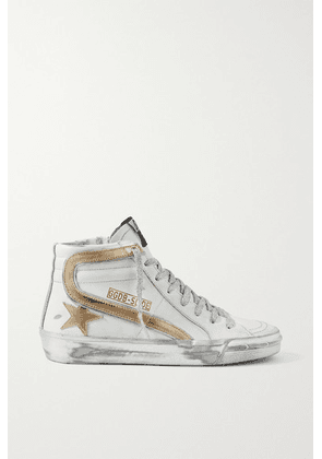 Golden Goose - Slide Metallic Distressed Leather High-top Sneakers - White