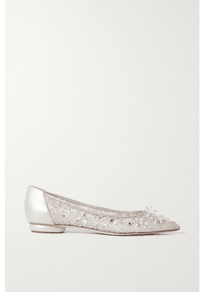 René Caovilla - Crystal-embellished Leather-trimmed Lace Point-toe Flats - Silver