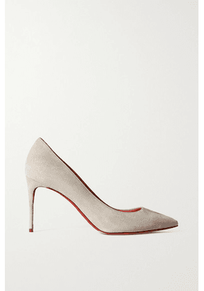 Christian Louboutin - Kate 85 Suede Pumps - Light gray
