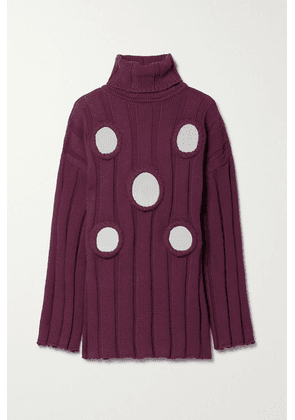AREA - Oversized Embellished Ribbed Cotton-blend Turtleneck Sweater - Burgundy