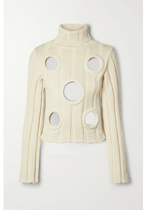 AREA - Embellished Ribbed Cotton-blend Turtleneck Sweater - Ecru