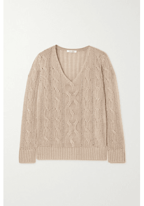 Max Mara - Peplo Cable-knit Linen Sweater - Beige