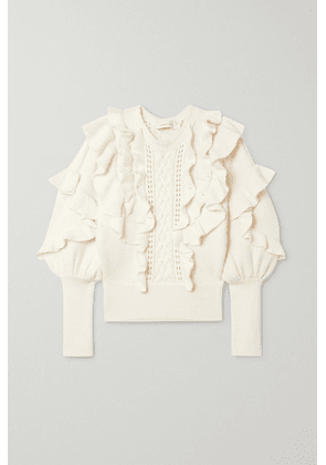 Zimmermann - Botanica Ruffled Wool Sweater - Cream