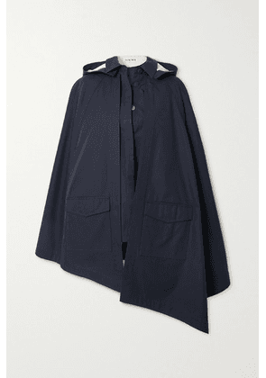 Loewe - Convertible Hooded Leather-trimmed Cotton-twill Cape - Navy
