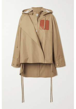 Loewe - Hooded Leather-trimmed Cutout Cotton-twill Jacket - Camel