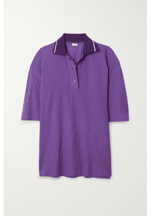 Loewe - Oversized Embroidered Cotton And Cashmere-blend Piqué Polo Shirt - Violet