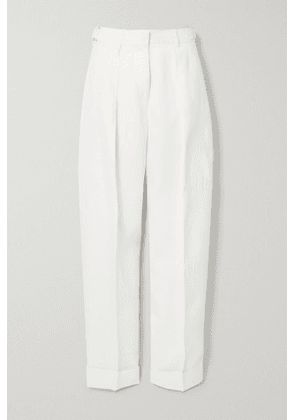 Victoria, Victoria Beckham - Pleated Woven Tapered Pants - Cream