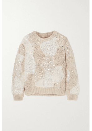 Brunello Cucinelli - Sequin-embellished Patchwork Cotton Sweater - Neutral