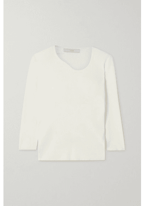 Tibi - Giselle Asymmetric Ribbed Stretch-knit Sweater - White