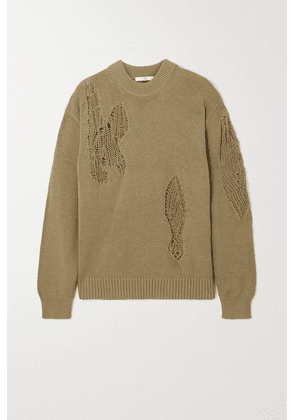 Tibi - Distressed Cotton Sweater - Army green
