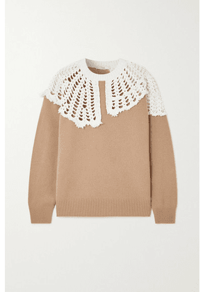 Tibi - Lana Crocheted Cotton And Wool Sweater - Sand