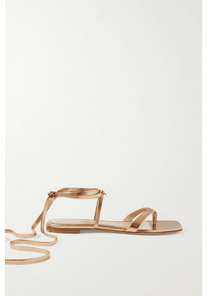 Gianvito Rossi - Lace-up Leather Sandals - Gold