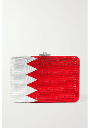 Judith Leiber Couture - Flag Crystal-embellished Silver-tone Clutch - Red