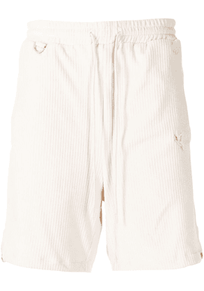 Doublet embroidered ribbed deck shorts - White
