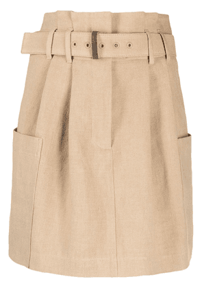 Brunello Cucinelli paperbag waist linen mini skirt - Brown