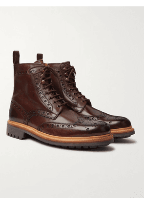 GRENSON - Fred Burnished-Leather Brogue Boots - Men - Brown