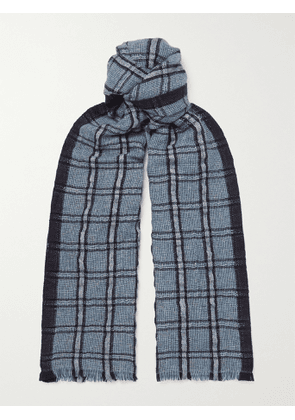 LORO PIANA - Checked Linen and Cashmere-Blend Tweed Scarf - Men - Multi
