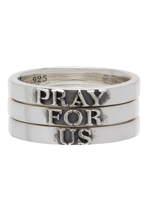 Martyre Silver Pray For Us Ring Set