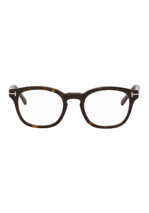 Tom Ford Brown Round Blue Block Glasses