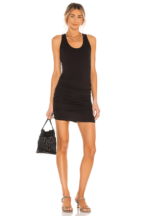 MONROW Supersoft Tank Shirred Dress in Black. Size M, S, XS.