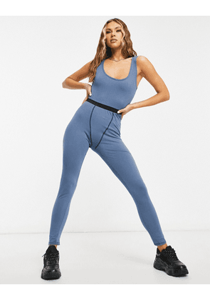 I Saw It First contrast stitch lounge jumpsuit in teal-Green