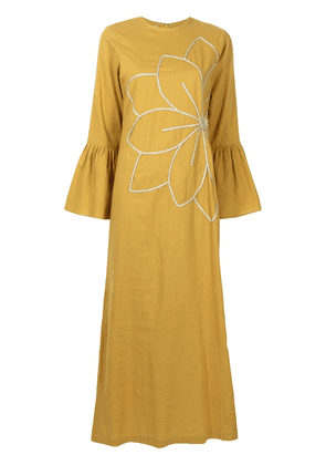 Bambah Camellia floral-embroidered dress - Yellow