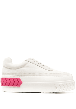 Both platform-sole sneakers - White