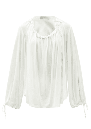 Palmer//harding - First Moment Ruched Jersey Blouse - Womens - Ivory