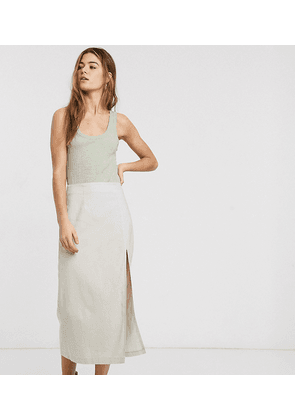 ASOS DESIGN Tall linen split front midi skirt-Stone