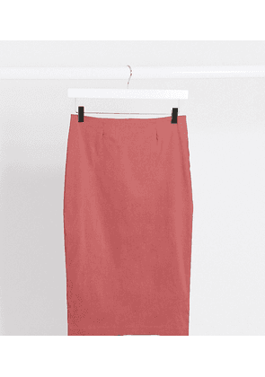 ASOS DESIGN Tall high waisted pencil skirt in dark rose-Pink