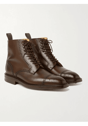 George Cleverley - Toby Pebble-Grain Leather Brogue Boots - Men - Brown