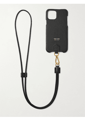 TOM FORD - Logo-Print Leather iPhone 11 Pro Case with Lanyard - Men - Black