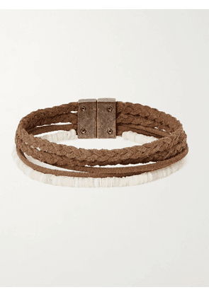 SAINT LAURENT - Shell and Braided Suede Bracelet - Men - Brown