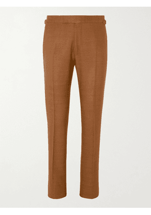 TOM FORD - Shelton Silk-Canvas Suit Trousers - Men - Brown