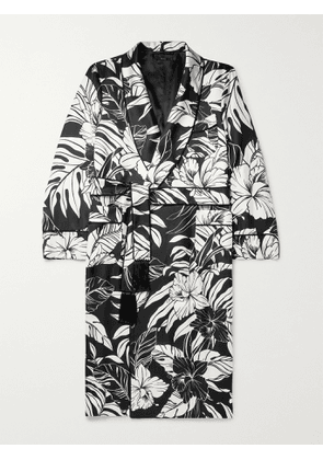 TOM FORD - Piped Floral-Print Silk-Twill Robe - Men - Black