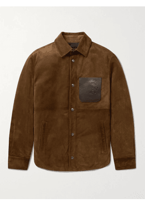 TOD'S - Leather-Trimmed Padded Suede Overshirt - Men - Brown