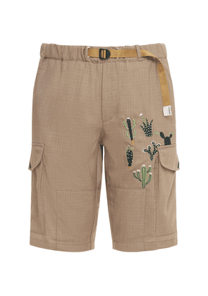 Embroidered Shorts W/cargo Pockets