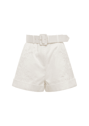 Belted Embroidered Cotton Canvas Shorts