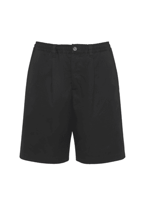 Loose Pleated Cotton Twill Shorts