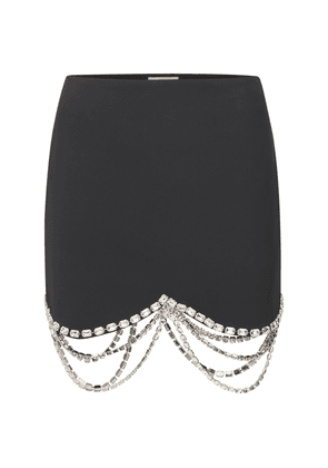 Crystal Embellished Crepe Mini Skirt