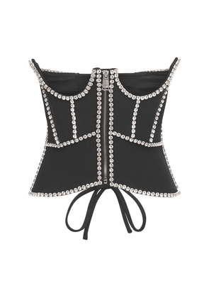 Embellished Cutout Crepe Corset Top