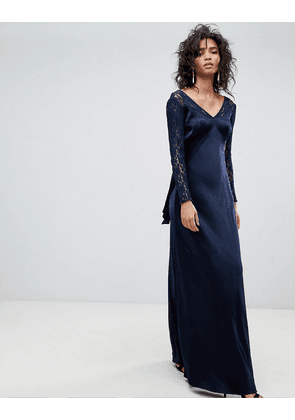 Ghost Long Sleeve Maxi Dress With Lace Bodice & Bow Back-Blue