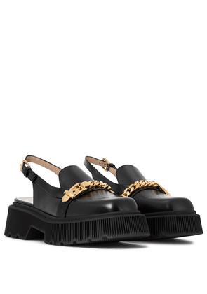 Leather slingback loafers