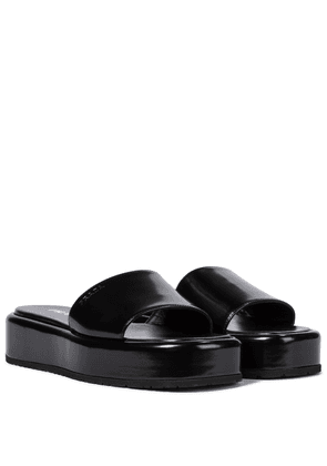 Brushed leather platform slides